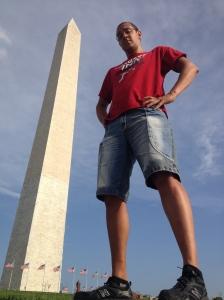 John is as tall as the Washington Monument